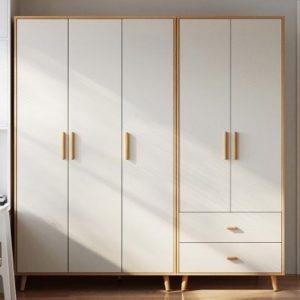 林氏木業簡約現代衣櫃木質家用臥室小戶型三門的衣櫥實木腳